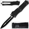 Spear Point OTF Knife Out The Front Assisted Open Tactical Glass Breaker Straight Edge Black Handle