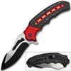 White Deer Tactical Knife Red and Black Spring Assisted