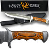 White Deer Full Tang Bowie Knife 15in w/ Sheath & Hardwood Handle