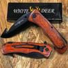 White Deer Gut Hook Frost Wood Handle Spring Assisted Knife