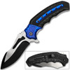 White Deer Tactical Knife Blue and Black Spring Assisted