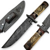 "White Deer Damascus Steel 13"" Alaska Mountains Wolf Bowie Knife Damascus Guard"