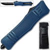 Straight Edge  Blue Flagship OTF Knife  Clip Point USA