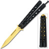 Swift Black Handle  gold Blade Balisong  Butterfly Knife