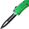 Green Legacy OTF Knife Spear Point, Double Edged Blade