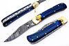 Damascus Blue Lever Lock Auto Knife With Blue Frost Wood Handle