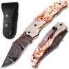 Executive Series Damascus Folder Knife White Copper Bolster Resin Handle