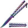 Rainbow Heavy Duty Butterfly Knife Drop Point Twister Handle