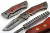 Red Flame Executive Series Damascus Folding Knife Brass & Blue Filework