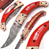 Exclusive Trump 2020  Damascus Folding Knife  Copper Bolster Limited Edition