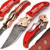 Custom Trump 2020  Damascus Folding Knife  Copper Bolster Exclusive Item