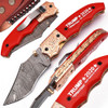 """""""Keep America Great"""" Trump 2020  Damascus Folding Knife  Copper Bolster Exclusive Item"""