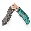 White Deer Executive Marble Series Damascus Folding Knife Brass & Copper File work