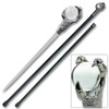 Claw Walking Cane Sword  37 in Staff  W Crystal  Ball