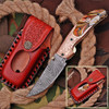 White Deer Executive Series Red & Orange Marble Damascus Folding Knife