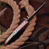 White Deer Executive Titanium Series Black Camel Bone Handle Damascus Folding Knife