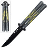 Green Spider  Balisong Butterfly Knife Black Blade