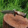 Custom Made Damascus Steel Kukri Knife w/ Wood & Camel Bone