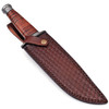 White Deer Custom Made Blue Mountain Damascus Steel Knife with Leather Handle