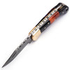 White Deer Executive Series Damascus Folding Knife Brass Filework Resin Handle