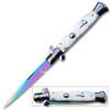 Titanium Swift White Pearl Handle Milano Stiletto Auto Knife