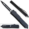 Slim Black Spear Point OTF Knife Assisted Open Tactical Glass Breaker