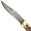 Custom  Hand Made Ram Handle Damascus  Lever Lock Auto Knife