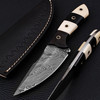 White Deer Custom Damascus Skinner Knife 1095 HC Steel Razor Sharp