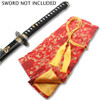RED SILK EMBROIDERED SWORD BAG WITH GOLD ROPE TIE