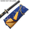 BLUE SILK EMBROIDERED SWORD BAG WITH GOLD ROPE TIE
