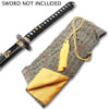 BLACK AND GOLD SILK EMBROIDERED SWORD BAG WITH GOLD ROPE TIE