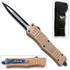 Brown Legacy OTF Knife Spear Point, Double Edged Blade