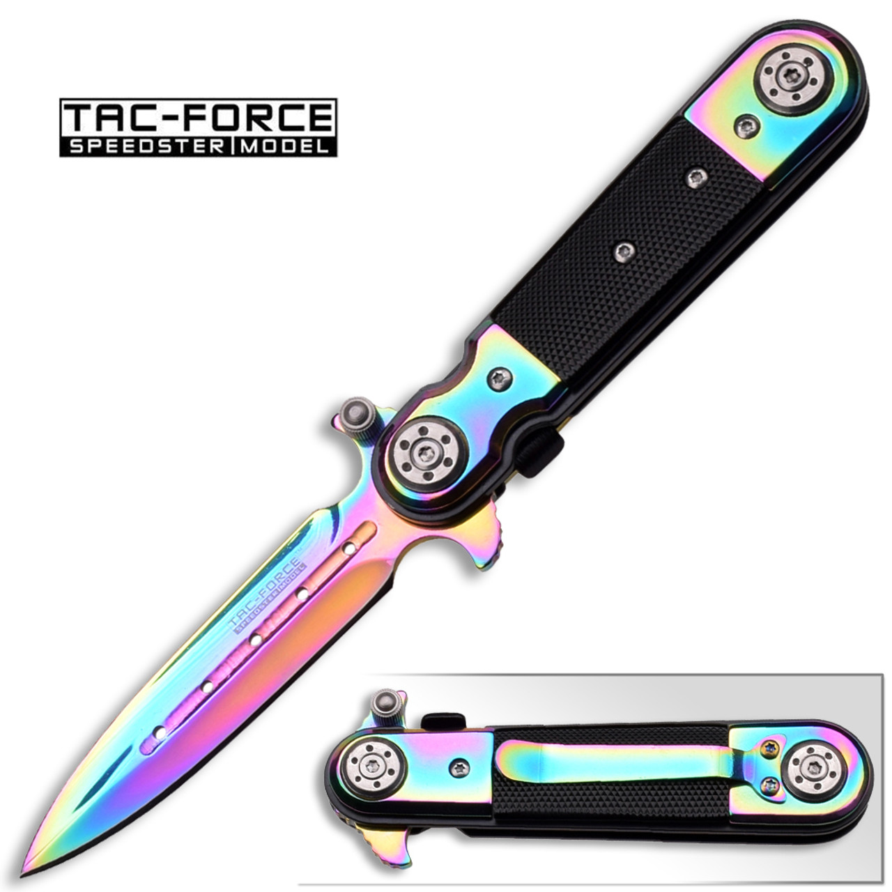 TAC FORCE Rainbow Stiletto Style Assisted Knife W/ G-10 Handle