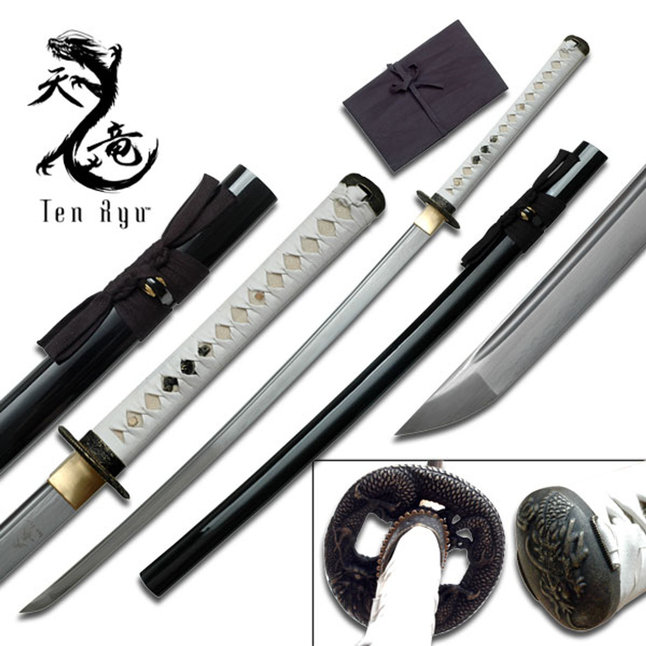 Ten Ryu - Sharp Damascus Steel Katana Sword (White Handle)