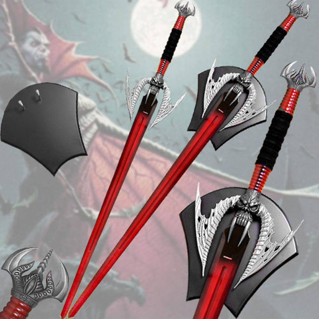Vampire Sword Ultra - Double Edge Blood Red w Plaque