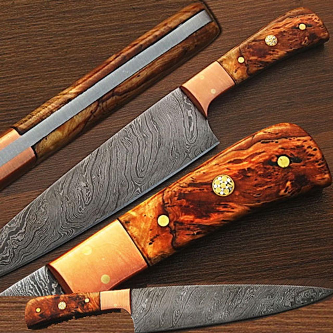"Lot of 5 Custom Handmade Damascus Steel 6/"" Hunting Knives Olive Wood Handles"