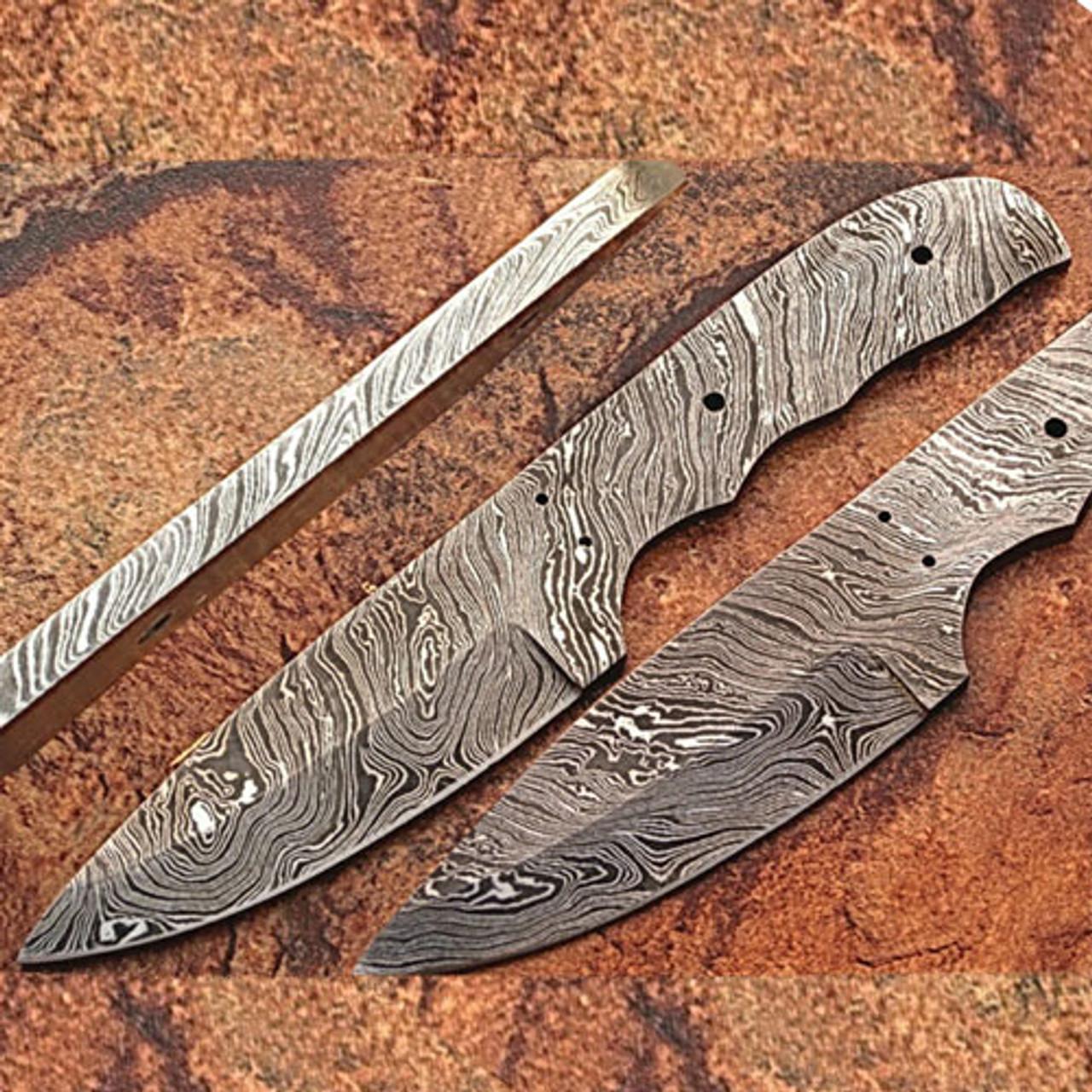 Custom FULL DAMASCUS Steel Militia-cut Knife (Blank Blade) 9 25in 1095 Steel