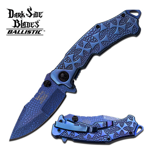 Dark Side Blades BallisticIron CrossSpring Assist KnifeBlue