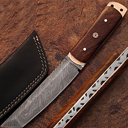 WHITE DEER Damascus Steel TANTO Point Hunting Knife