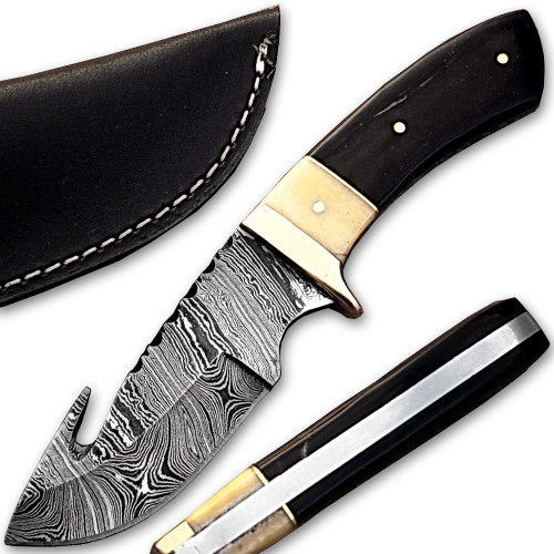 Damascus Steel Hunting Knife w/ Camel Bone & Buffalo Horn Handle