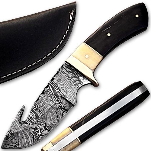 Damascus Steel Hunting Knife w/ Camel Bone & Buffalo Horn Handle