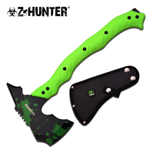 Z Hunter Zombie Killer Green Handle Axe