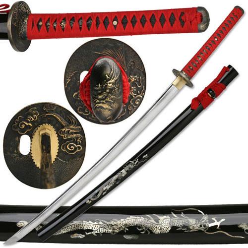 Hand Forged Mother of Pearl Dragan Katana Sword