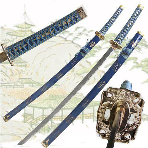 Blue Gold Katana of the Warrior Sword Golden Dragon TK-748BLG