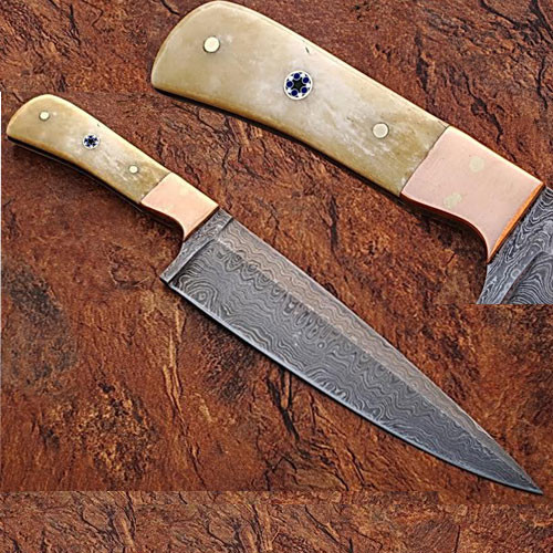 Custom Handmade Damascus Copper Guard Chef Knife Bone Handle