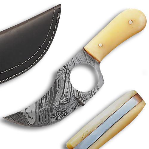 White Deer  Damascus Steel Skinner Knife w/Finger Hole (Bone Handle)