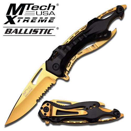 MTECH BALLISTIC Tactical Sporting Knife | Gold Titanium Coated Blade, Black Metal Handle