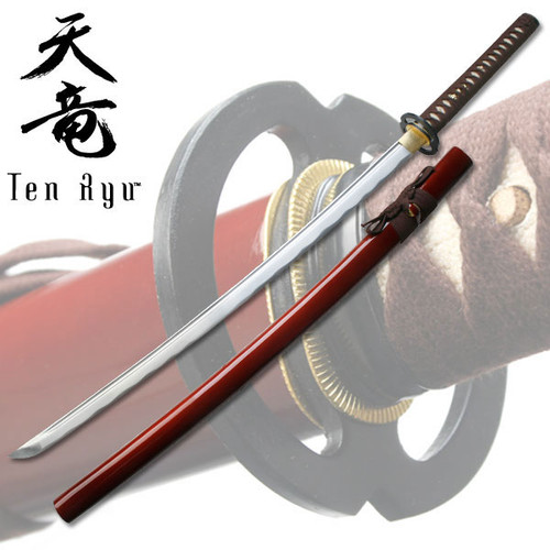 Red Hand Forged Carbon Steel Katana W/ Real Ray Skin