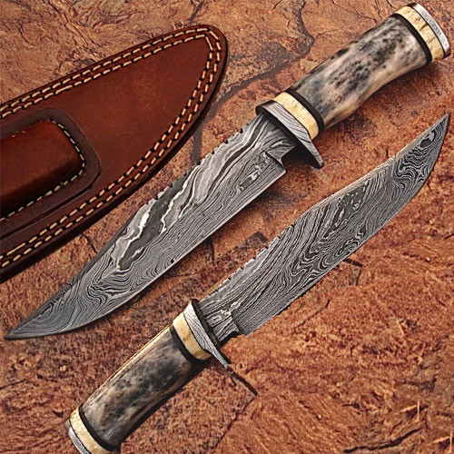 Custom Made Damascus Steel Bowie Knife w/ Giraffe & Camel Bone