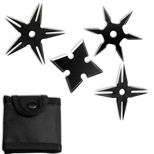MK-Ultra Covert Ninja Throwing Stars Set of 4 With Pouch Black